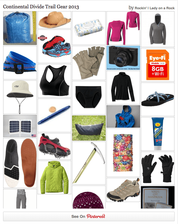 Continental Divide Trail Gear 2013 on Pinterest