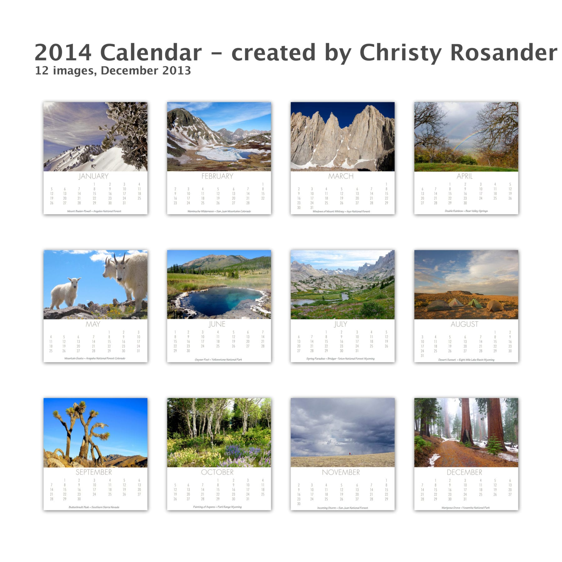 2014 Calendar - created by Christy Rosander