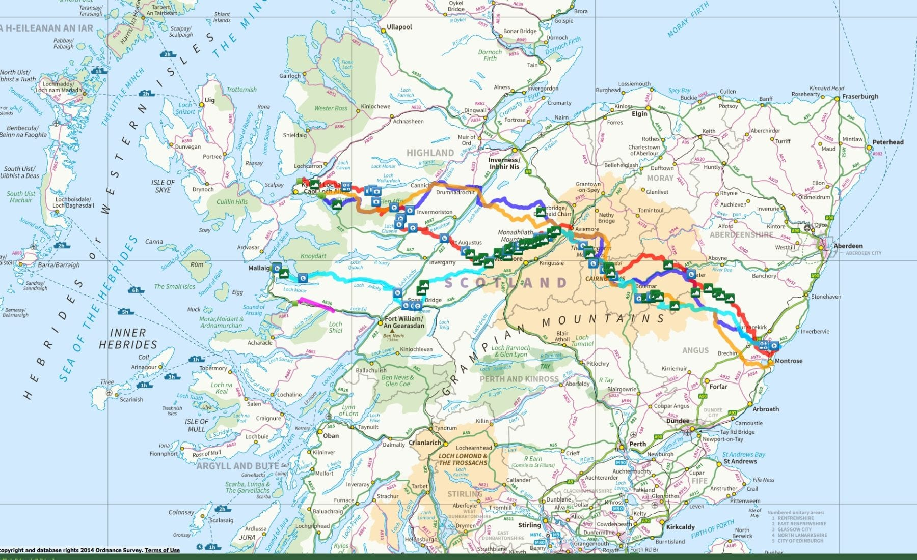 Example of Participant Created Routes across Scotland