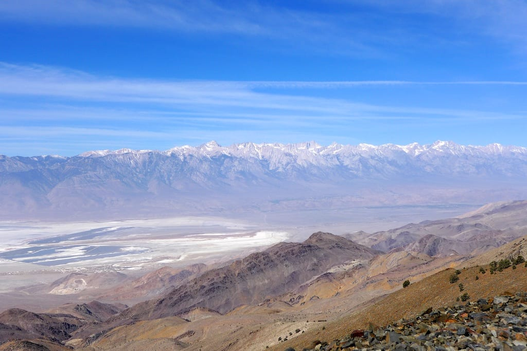 Morning break view of Owens Valley and the High Sierras