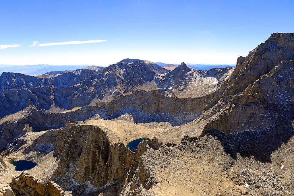 Summit view from Mount Russell - Whitney (right), Langley (far middle)