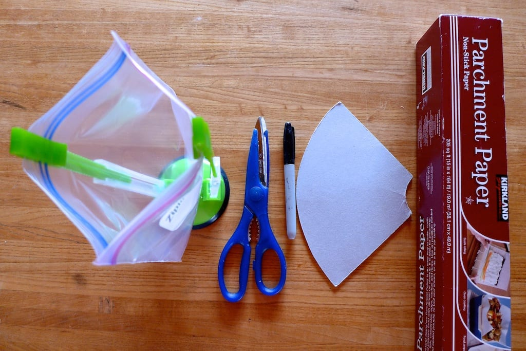 My Favorite Tools for Dehydrating Backpacking Food - Jokari Hands-Free Baggy Rack Storage Bag Holder, Kitchen Scissors, Sharpie Pen, DIY Template for Making Dehydrator Parchment Paper Rack Sheets, Parchment Paper