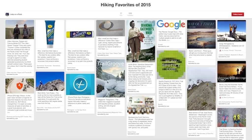 Hiking Favorites of 2015 on PInterest
