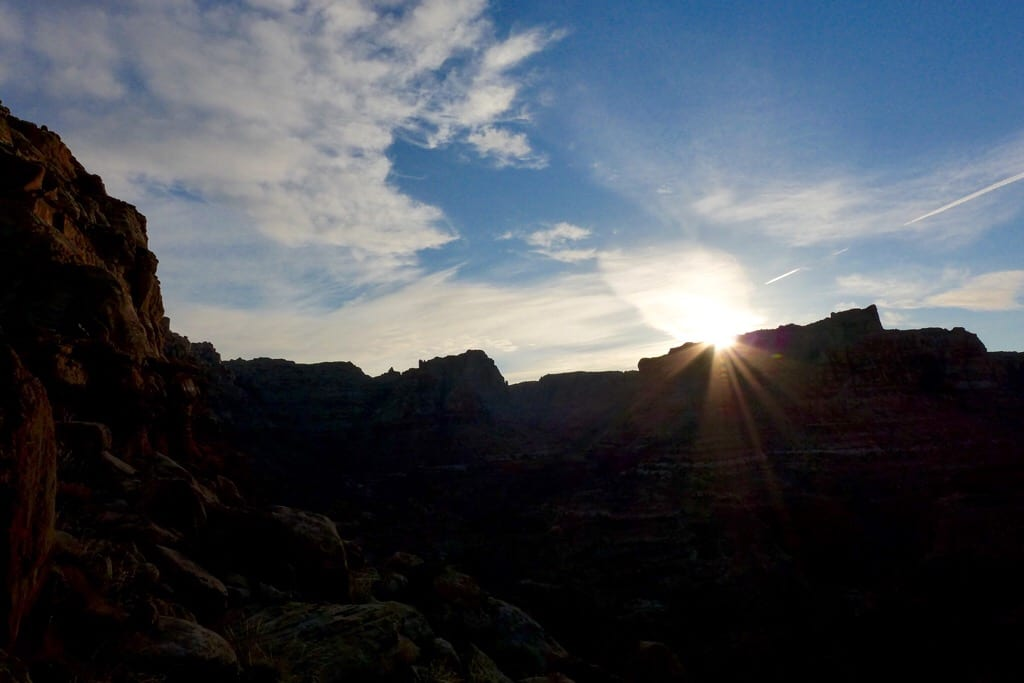 Sunrise over Dark Canyon from Sundance Trail
