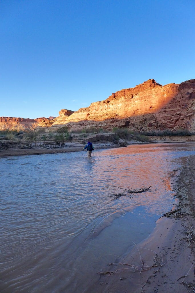 Dirty Devil River at Sunset - You can walk in it but can't drink the nasty water due to alkaline, heavy metals, and agricultural waste