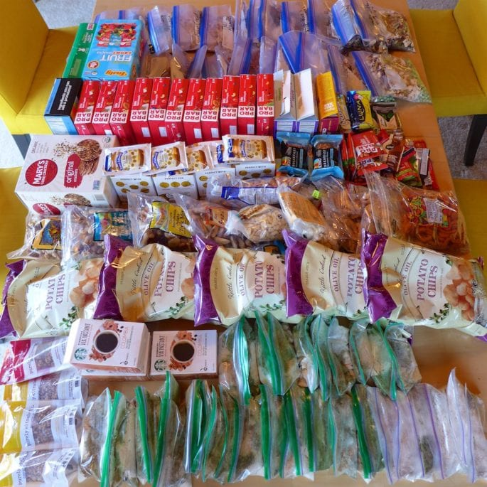 Food for about 30 days ready to go into resupply boxes