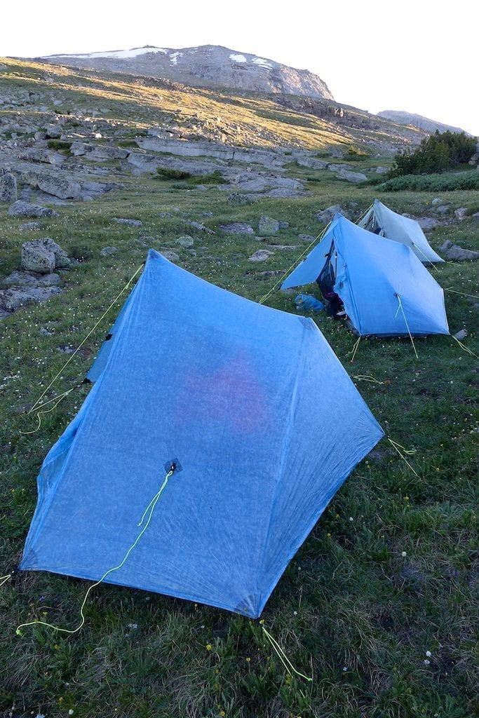 ... C& for the night below Wind River Peak ~ Zpacks solplex tents & Day 1 Wind River High Route - Easing In