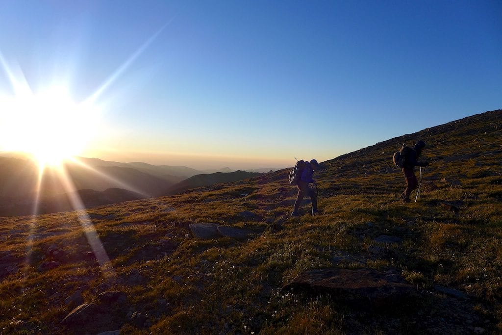 Sunrise on Ridge before the climb up Wind River Peak ~ Why Not and Wired