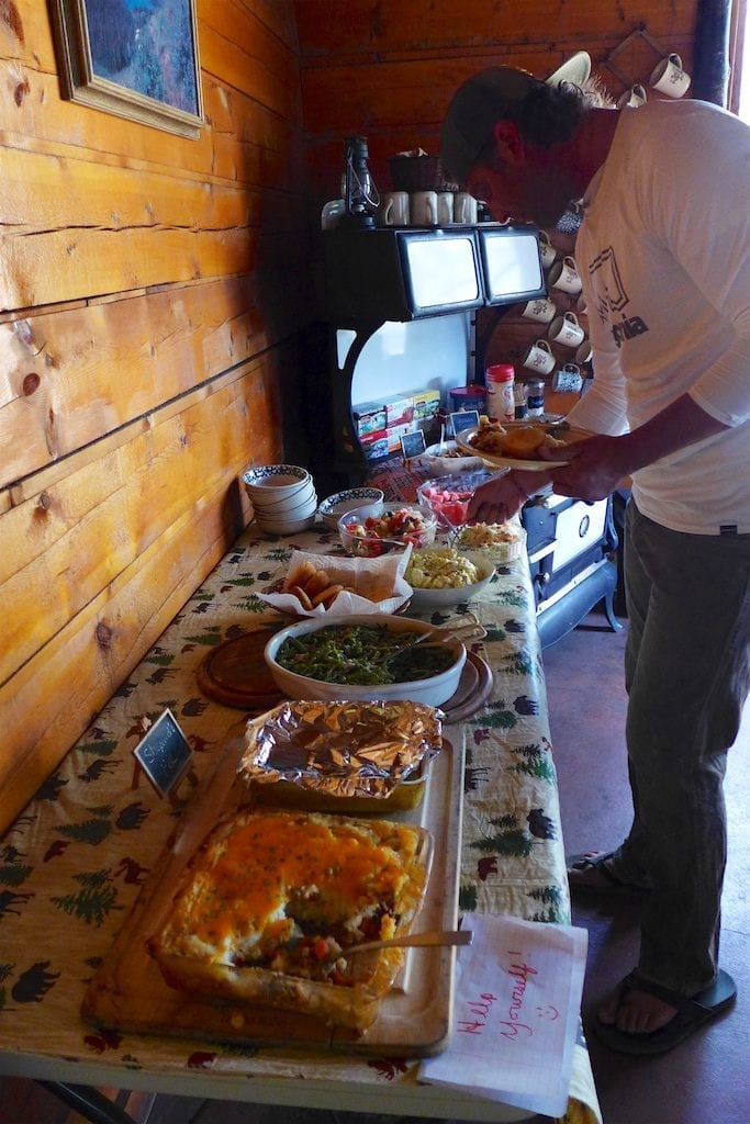 Family style meals at the Big Sandy Lodge ~ We chose to hike 10 miles out for food resupply, showers, laundry, hot meals (included with lodging), and a soft cozy bed. The lodge is rustic and very friendly to hikers.