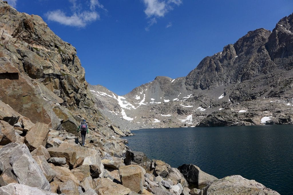 Alpine Lakes Pass in the distant middle ~ Our next destination